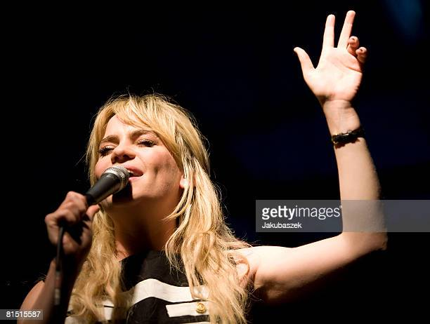 British Soul singer Duffy performs live during a concert at the Postbahnhof on June 10, 2008 in Berlin, Germany. The concert is part of the 2008...