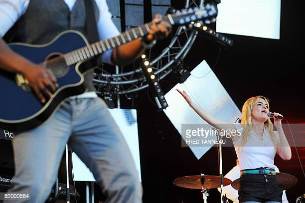 British soul singer Duffy performs on stage on July 19 2008 in CarhaixPlouguer western France during the 17th edition of the Vieilles charrues French...