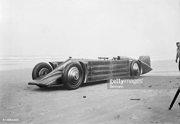 British speed racer tries out new car on the sands of Daytona Beach FloridaPhoto shows Major HOD Seagrave the British auto race driver as he sat in...