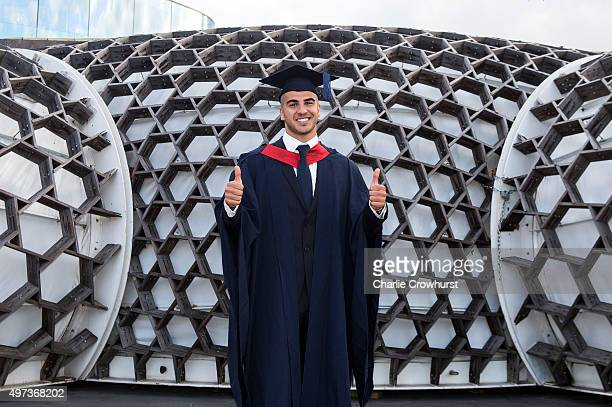 British sprinter Adam Gemili poses for a photo at his graduation ceremony after gaining a 21 in Sport and Exercise Science from The University of...