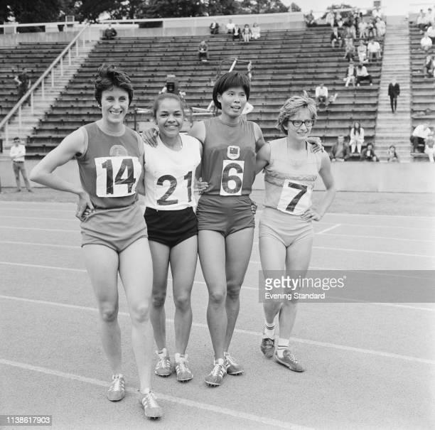 British sprinter Dorothy Hyman British sprinter Anita Neil Chinese track and field athlete Chi Cheng and British sprinter Madeleine Cobb at Crystal...