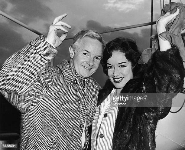 British stage actor and radio presenter Hubert Gregg at London Dock with his wife actress Patricia Kirkwood 19th March 1962 They are leaving to start...