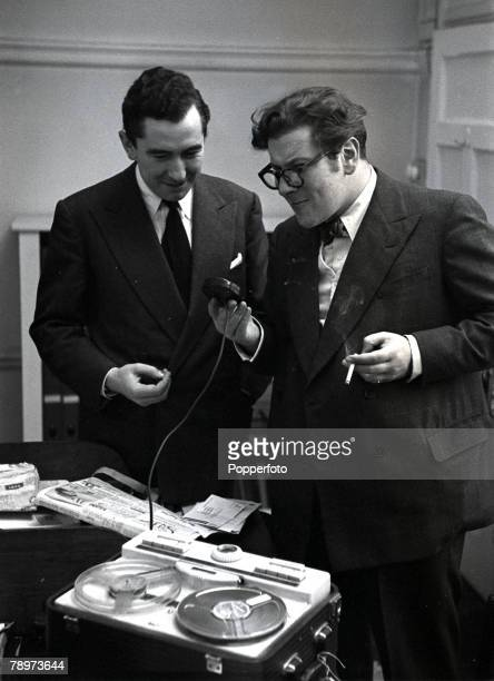 British stage and film actor director dramatist and racconteur Peter Ustinov with Peter Jones as they record Ustinov's impression of a German...