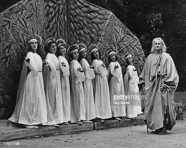 British stage and film actor Richard Ainley in the lead role during a rehearsal of the transition scene of 'Faust' which is being presented at the...