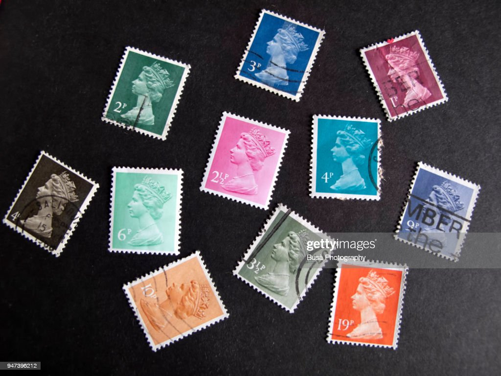 British Stamps Celebrating Queen Elizabeth On A Black Background High Res Stock Photo Getty Images