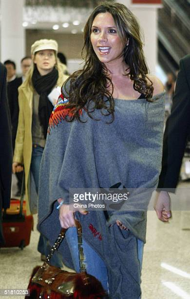 British star Victoria Beckham arrives Shanghai Pudong Airport on December 12004 in Shanghai China Victoria was invited to be a celebrity guest judge...