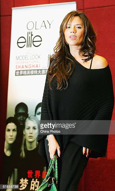 British star Victoria Beckham attends a news conference of Elite Model Look 2004 International Finals on December 1 2004 in Shanghai China Beckham...