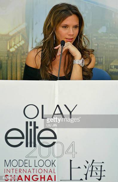 British star Victoria Beckham listens to a question during a press conference announcing she will be the celebrity guest judge of Elite Model Look...