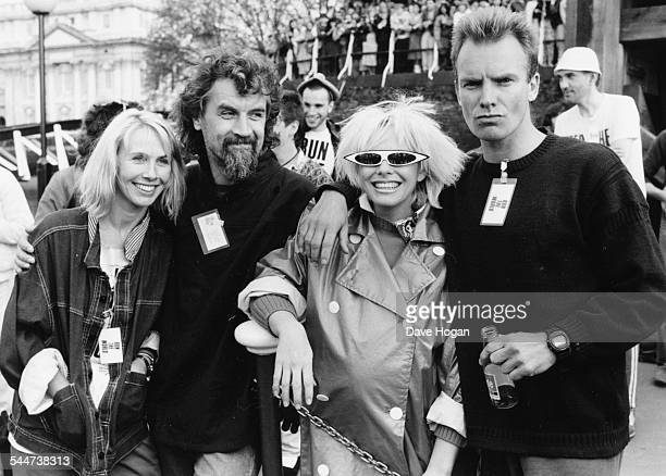 British stars Trudi Styler Billy Connolly Pamela Stephenson and Sting at a charity Sport Aid event in London May 27th 1986