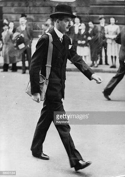British Statesman and Dominions Secretary Anthony Eden on his way to 10 Downing Street with a gasmask over his shoulder at the outbreak of war