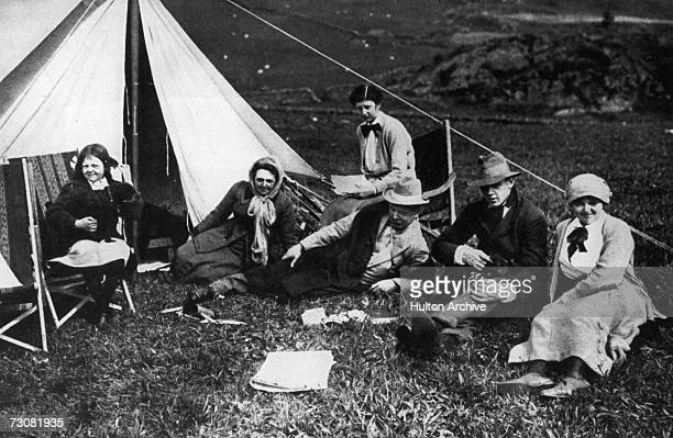 British statesman David Lloyd George camping with his family on the slopes of Moel Hebog in Snowdonia north Wales circa 1915 From left to right his...