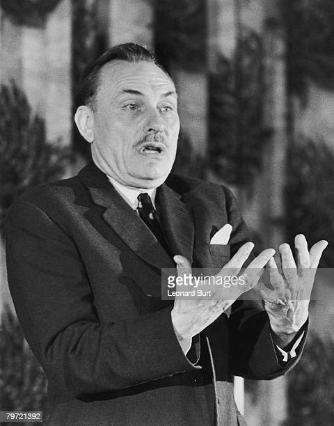 British statesman Enoch Powell addresses a meeting at East Park School in Wolverhampton 9th June 1970 Powell is the MP for Wolverhampton South West