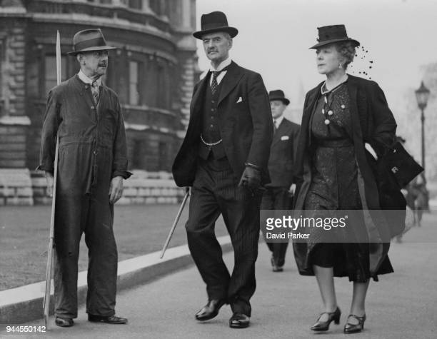 British statesman Neville Chamberlain and his wife Anne take a walk in St James's Park London on his last day as Prime Minister 10th May 1940