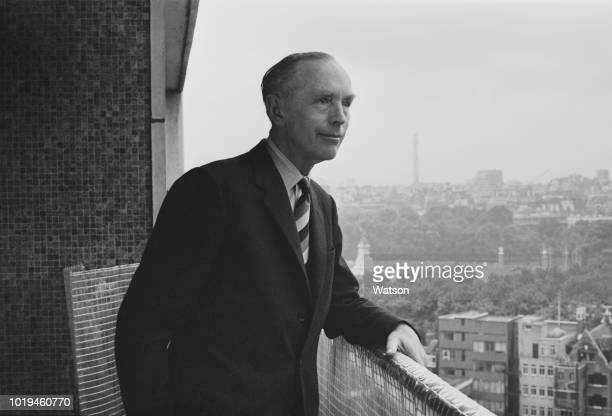 British statesman of the Conservative Party Alec DouglasHome on his flat's balcony London UK 25th July 1965