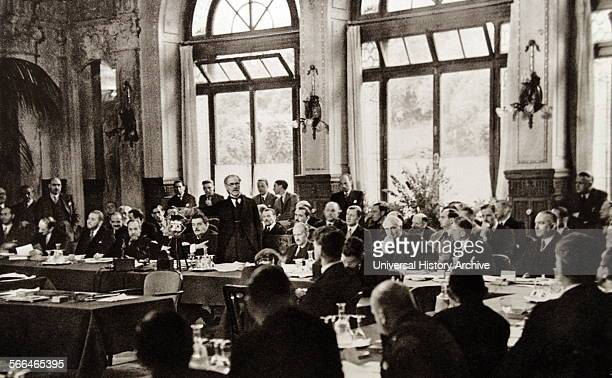 British Statesman Ramsay MacDonald addressing The Lausanne Conference which was a 1932 meeting of representatives from Great Britain Germany and...