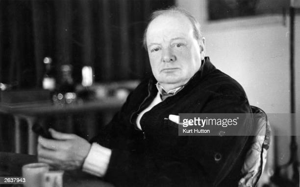 British statesman Sir Winston Leonard Spencer Churchill relaxing at his country home in Chartwell Kent Original Publication Picture Post 90 Churchill...