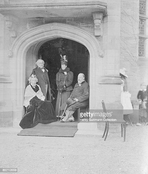 British statesman William Ewart Gladstone and his wife Catherine with the future King Edward VII and Queen Alexandra in the Golden Wedding Porch at...
