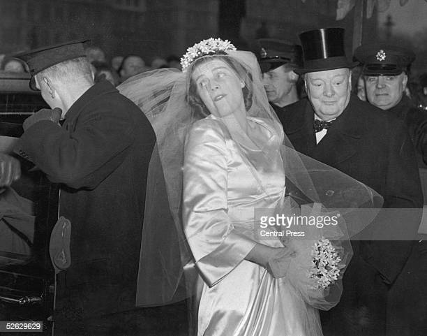 British statesman Winston Churchill and his daughter Mary arrive for her wedding to Captain Christopher Soames of the Coldstream Guards at St...