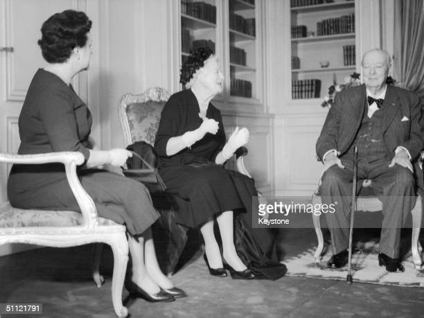 British statesman Winston Churchill and his wife Clementine at the Nice Prefecture with Yvonne de Gaulle wife of French president Charles de Gaulle...