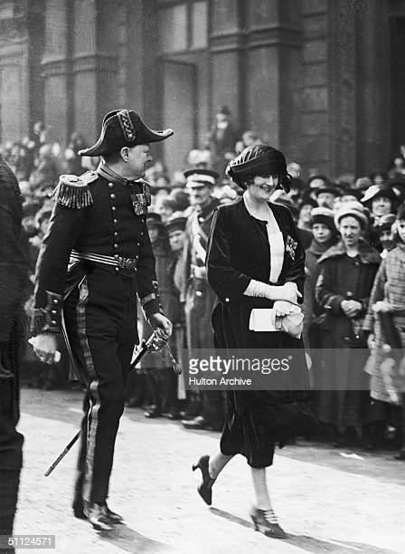 British statesman Winston Churchill and his wife Clementine attend the wedding of Princess Victoria Alexandra Alice Mary to the 6th Earl of Harewood...