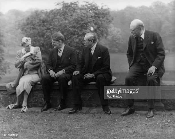 British statesman Winston Churchill and his wife Clementine with French politician Léon Blum at Chartwell the Churchills' home in Kent May 1939