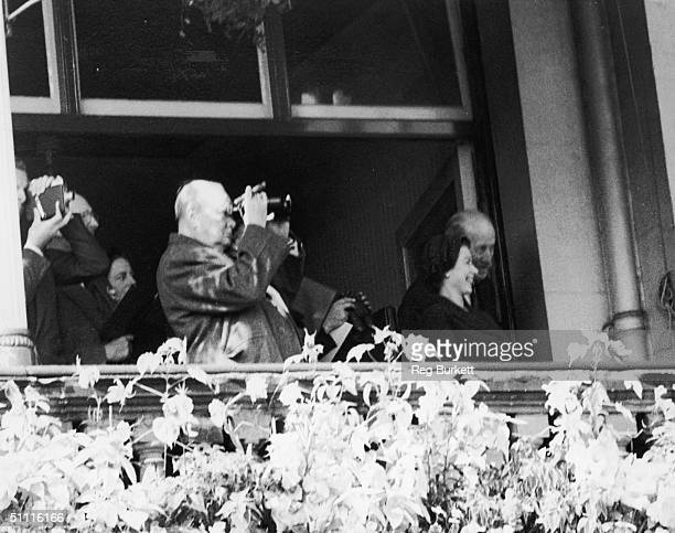 British statesman Winston Churchill and Queen Elizabeth II watch the St Leger at Doncaster 12th September 1953