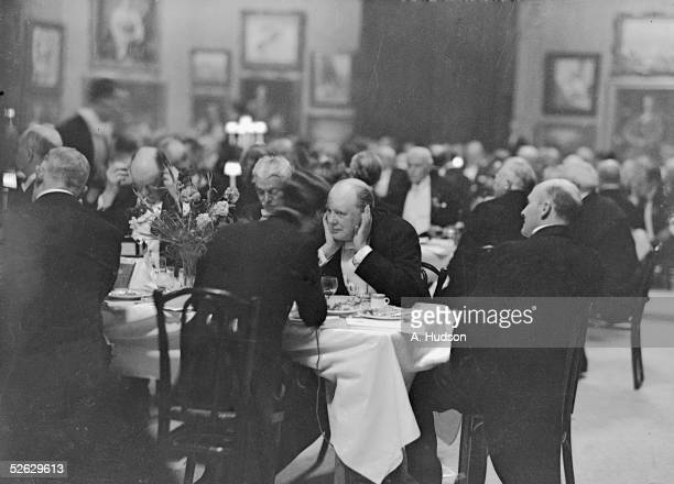 British statesman Winston Churchill at a Royal Academy banquet at Burlington House London 1st May 1932