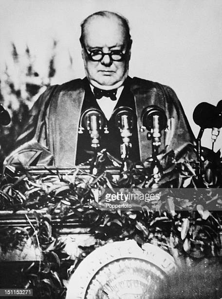 British statesman Winston Churchill giving a speech at Westminster College Fulton Missouri USA 5th March 1946 Known as his 'Sinews of Peace' address...
