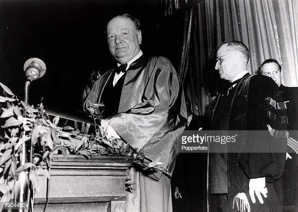 Politics Winston Churchill delivering his speech ' The sinews of peace' at Fulton Missouri USA with President Harry Truman March 1946