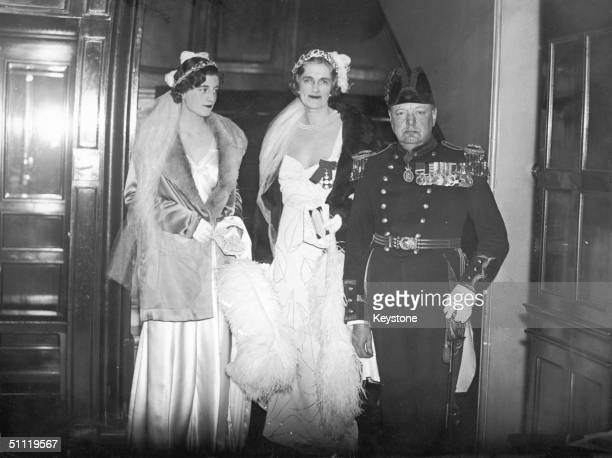 British statesman Winston Churchill his wife Clementine and their daughter Sarah leaving for an appointment at Buckingham Palace 11th May 1933