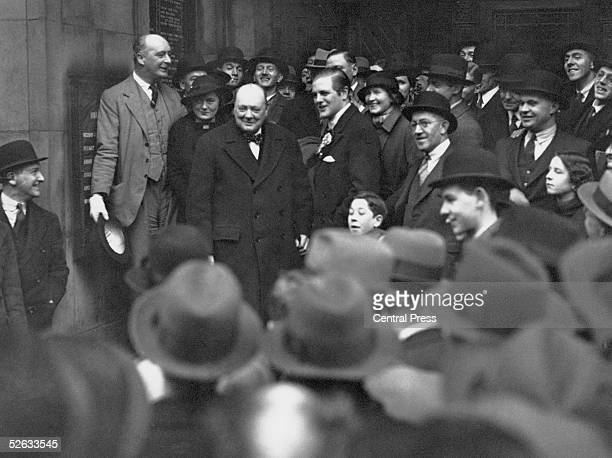 British statesman Winston Churchill lends support to his son Randolph in his campaign to win the Liverpool, Wavertree by-election, 5th February 1935.