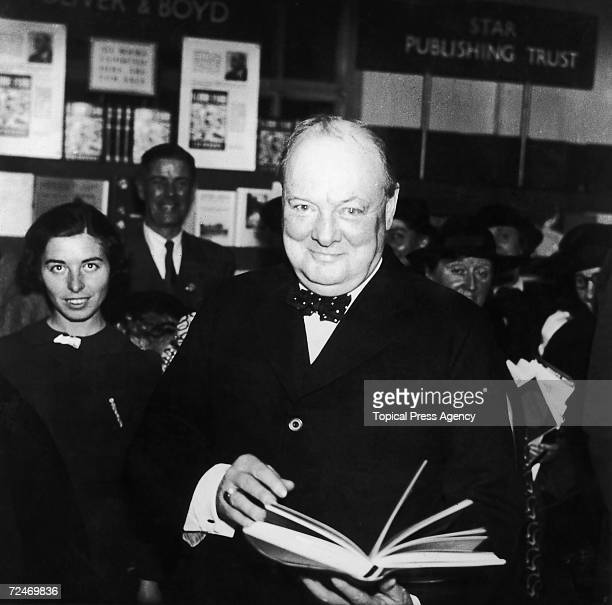 British statesman Winston Churchill opens the 5th National Book Fair at Dorland Hall, on London's Regent Street, 8th November 1937.
