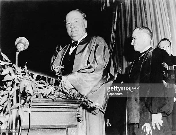 British statesman Winston Churchill preparing to speak at Westminster College Fulton Missouri USA 5th March 1946 Known as his 'Sinews of Peace'...