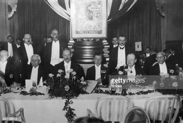 British statesman Winston Churchill the Prince of Wales and William Henry Grenfell 1st Baron Desborough chairman of the Pilgrims of Great Britain...