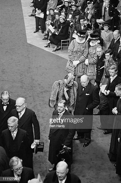 British statesman Winston Churchill with his wife Clementine among the guests at Westminster Abbey London for the wedding of Princess Elizabeth and...