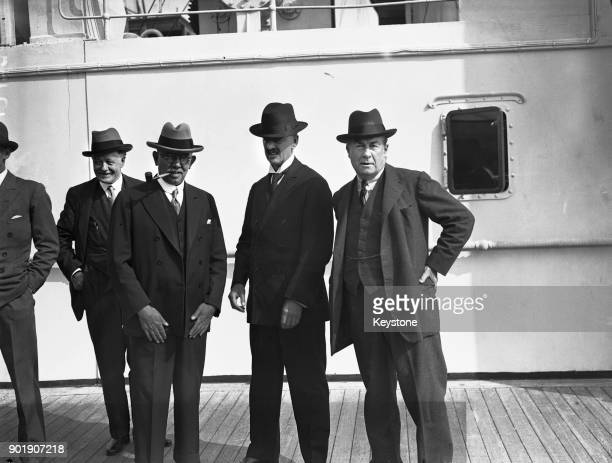 British statesmen arrive at Southampton on the 'Empress of Britain', having attended the British Empire Economic Conference in Ottawa, Canada, 25th...