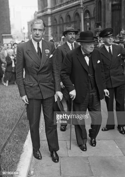 British statesmen Winston Churchill and Anthony Eden arrive at 10 Downing Street in London to discuss the Opposition's demands for an early recall of...