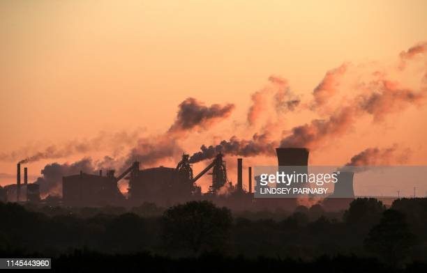 British Steel's Scunthorpe plant is pictured at dawn in north Lincolnshire north east England on May 22 2019 A collapse of British Steel Britain's...