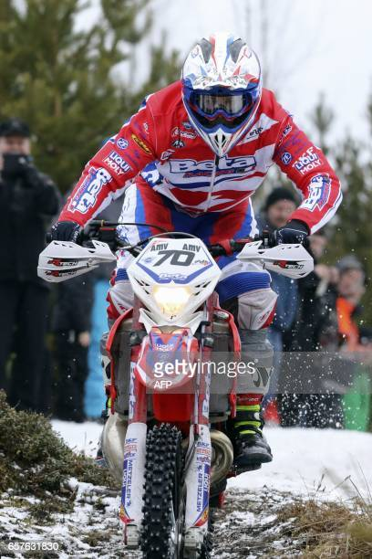 British Steve Holcombe competes during the special stage Auttoinen of Paeijaenteen ympaeriajo race around lake Paeijeanne as part of the 2017 MAXXIS...