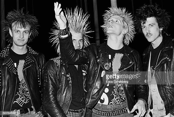 British street punk band GBH group portrait Birmingham International Arena Birmingham United Kingdom 1982 Line up includes Colin Abrahall Colin...