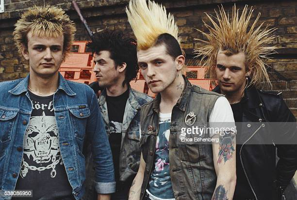 British street punk band GBH group portrait featuring large mohicans Covent Garden United Kingdom 1982 Line up includes Colin Abrahall Colin 'Jock'...