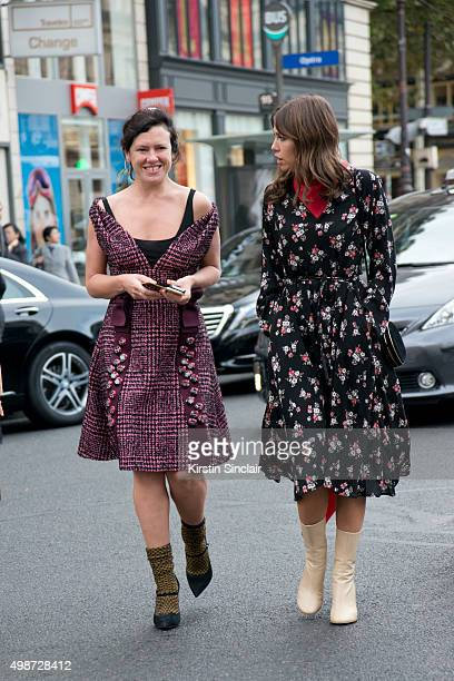 British Stylist and Fashion journalist Katie Grand wears a Prada dress with a guest on day 7 during Paris Fashion Week Spring/Summer 2016/17 on...