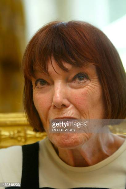 British stylist Mary Quant is seen 17 June 2004 during an interview in Paris Quant introduced both the mini skirt and tights which replaced stockings...