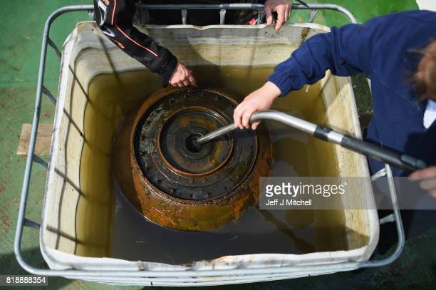 British SubAqua Club divers a Highball bouncing bomb recovered yesterday from Loch Striven on July 19 2017 in Loch StrivenScotland More than two...