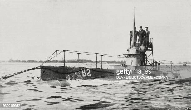 British submarine the HMS B2 rammed and sunk by the German transatlantic liner the SS Amerika October 4 photograph by Argus from L'Illustrazione...