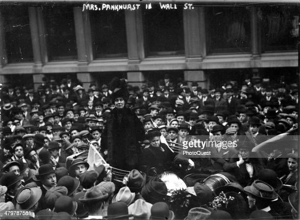 British suffrage leader Emmeline Pankhurst attends a woman suffrage meeting New York New York November 27 1911 This photo shows her attempting to...