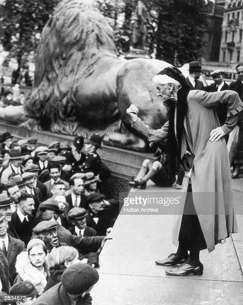 British suffragette Charlotte Despard addresses the crowd in Trafalgar Square during a Communist rally 11th June 1933