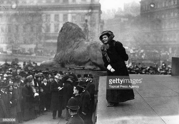 British suffragette Lady Emmeline PethickLawrence addressing a crowd from the base of Nelson's column in Trafalgar Square London