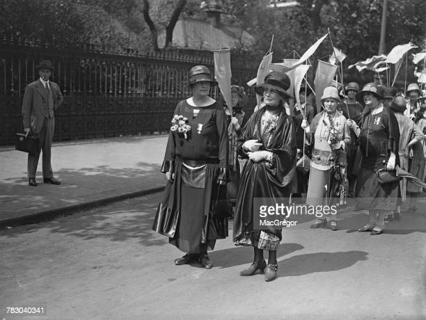 British suffragette leaders Margaret Mackworth 2nd Viscountess Rhondda and Emmeline Pankhurst during the Equal Political Rights Demonstration London...