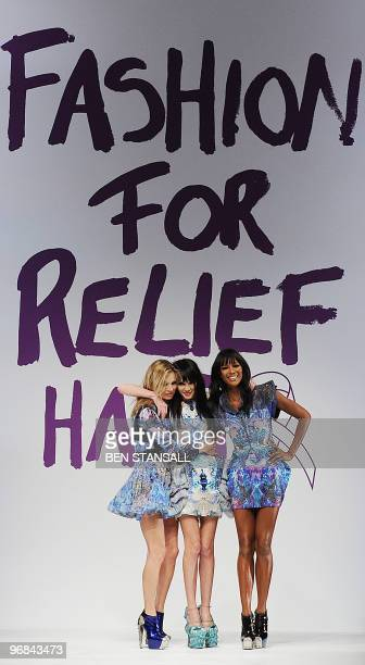 British super models Naomi Campbell and Kate Moss pose with Annabelle Neilson as a tribute to dead British fashion designer Alexander McQueen at...